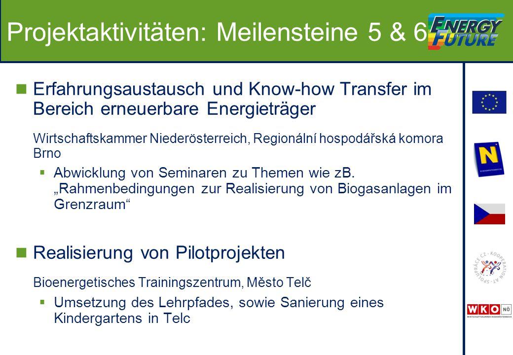 Projektaktivitäten: Meilensteine 5 & 6 Erfahrungsaustausch und Know-how Transfer im Bereich erneuerbare Energieträger Wirtschaftskammer Niederösterreich, Regionální hospodářská komora Brno  Abwicklung von Seminaren zu Themen wie zB.