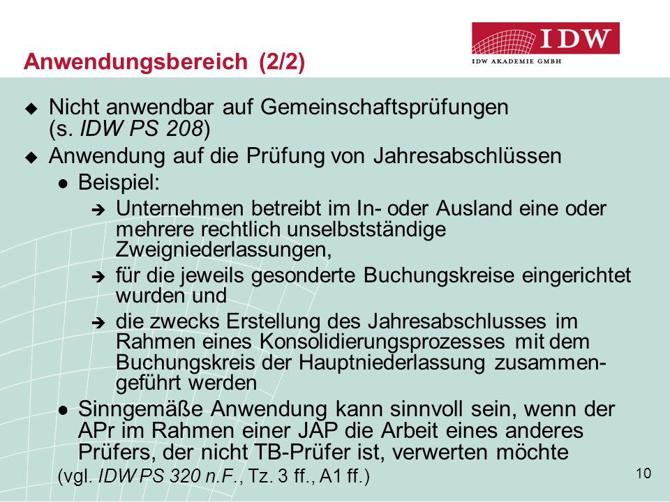 10 Anwendungsbereich (2/2)  Nicht anwendbar auf Gemeinschaftsprüfungen (s. IDW PS 208)  Anwendung auf die Prüfung von Jahresabschlüssen Beispiel: 