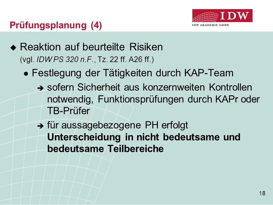 18 Prüfungsplanung (4)  Reaktion auf beurteilte Risiken (vgl. IDW PS 320 n.F., Tz. 22 ff. A26 ff.) Festlegung der Tätigkeiten durch KAP-Team  sofern