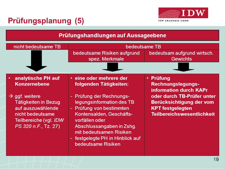 19 Prüfung Rechnungslegungs- information durch KAPr oder durch TB-Prüfer unter Berücksichtigung der vom KPT festgelegten Teilbereichswesentlichkeit Pr