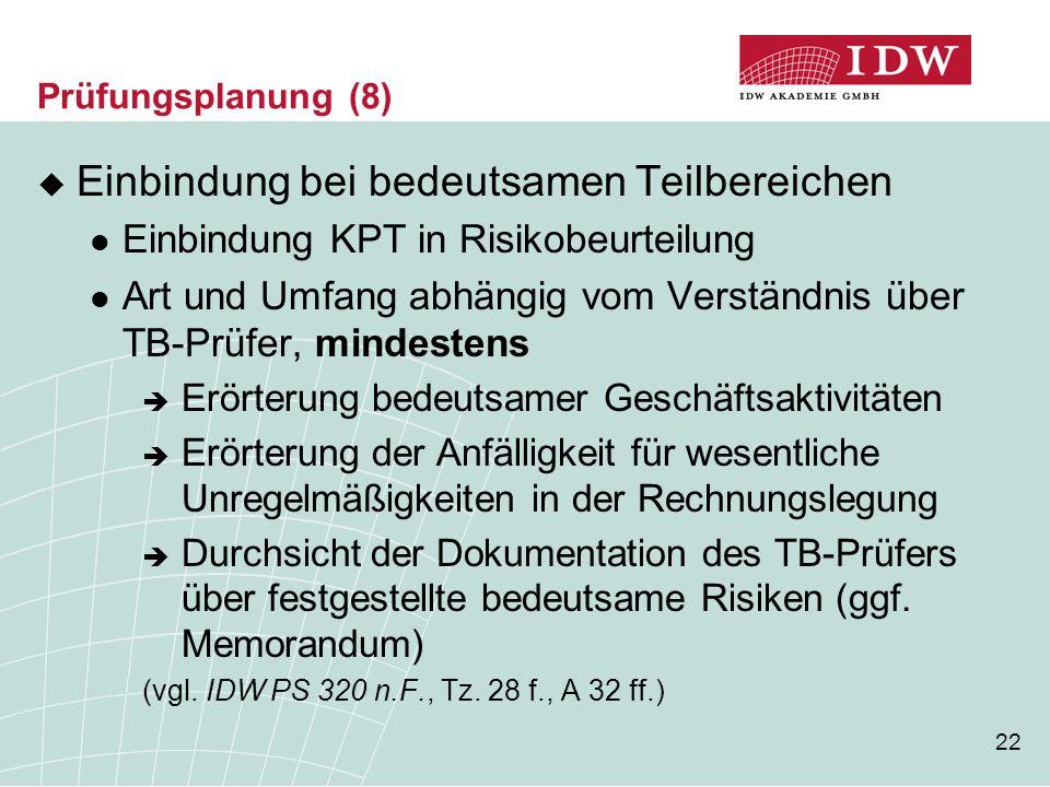 22 Prüfungsplanung (8)  Einbindung bei bedeutsamen Teilbereichen Einbindung KPT in Risikobeurteilung Art und Umfang abhängig vom Verständnis über TB-
