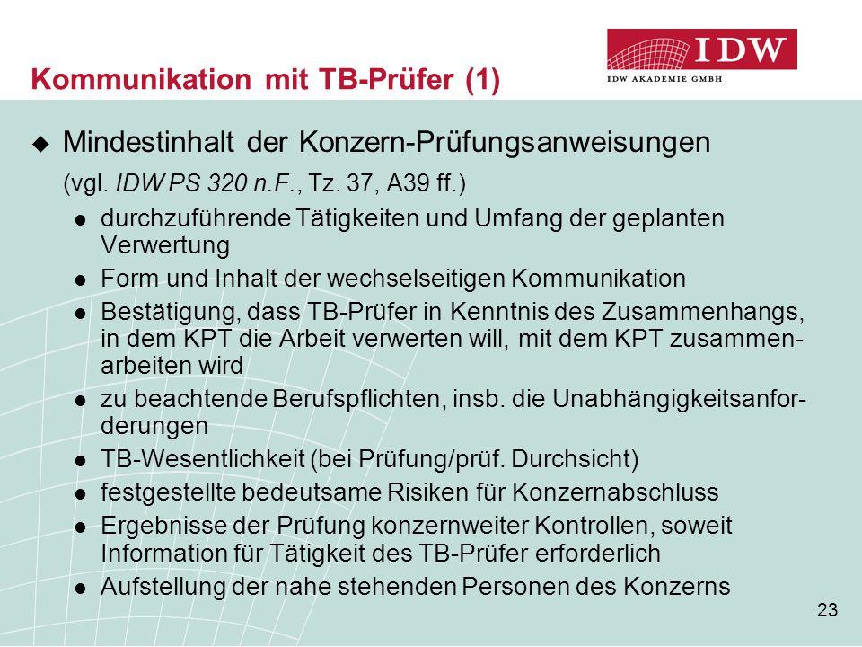 23 Kommunikation mit TB-Prüfer (1)  Mindestinhalt der Konzern-Prüfungsanweisungen (vgl. IDW PS 320 n.F., Tz. 37, A39 ff.) durchzuführende Tätigkeiten