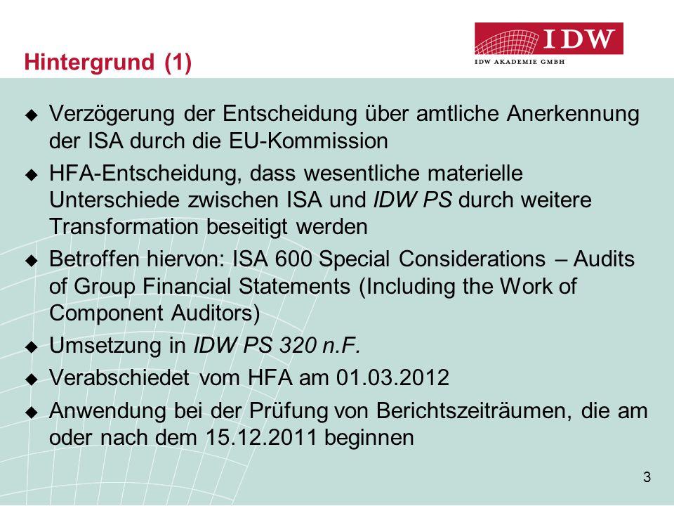 3 Hintergrund (1)  Verzögerung der Entscheidung über amtliche Anerkennung der ISA durch die EU-Kommission  HFA-Entscheidung, dass wesentliche materi
