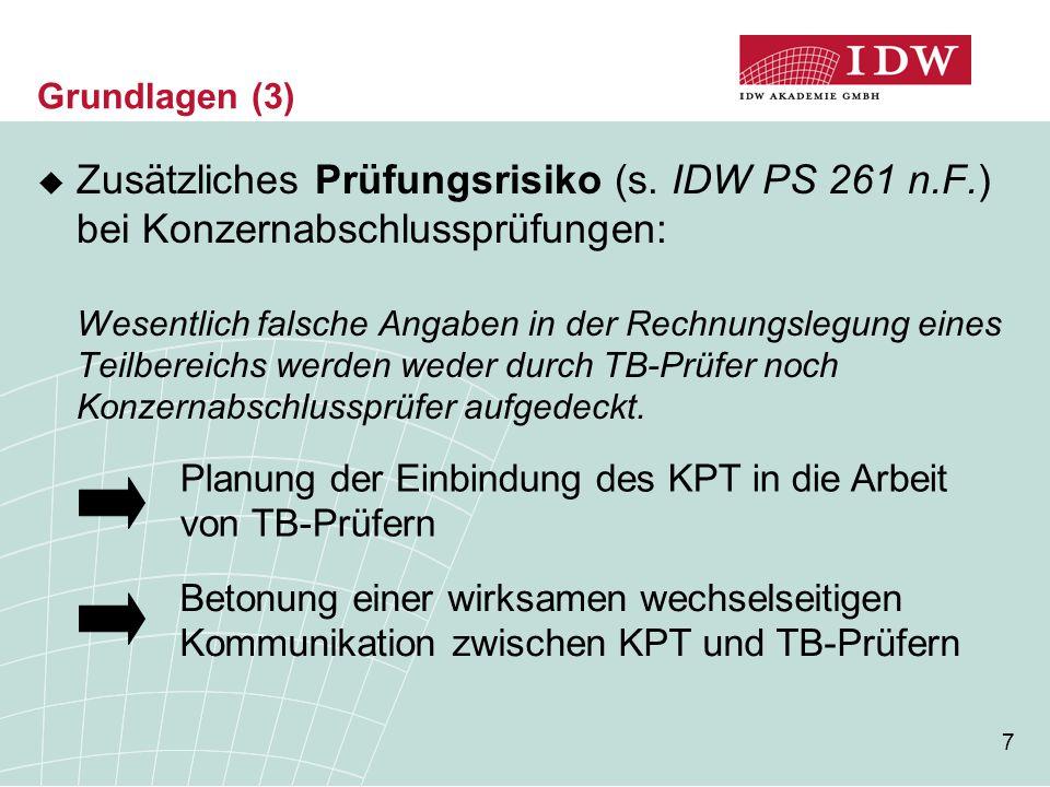 7 Grundlagen (3)  Zusätzliches Prüfungsrisiko (s. IDW PS 261 n.F.) bei Konzernabschlussprüfungen: Wesentlich falsche Angaben in der Rechnungslegung e