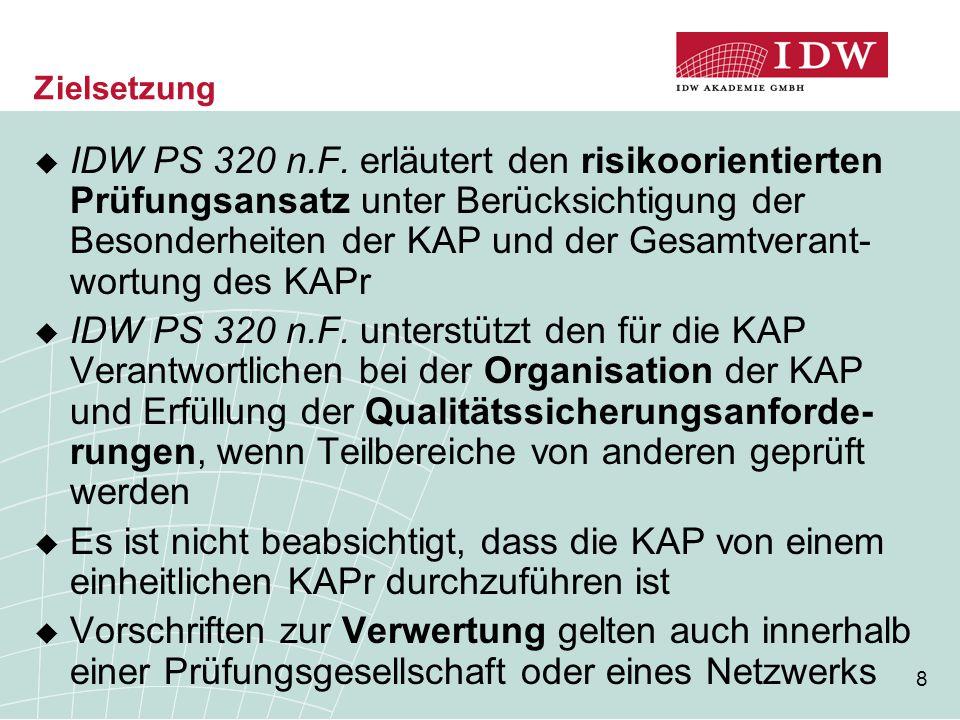 8 Zielsetzung  IDW PS 320 n.F. erläutert den risikoorientierten Prüfungsansatz unter Berücksichtigung der Besonderheiten der KAP und der Gesamtverant
