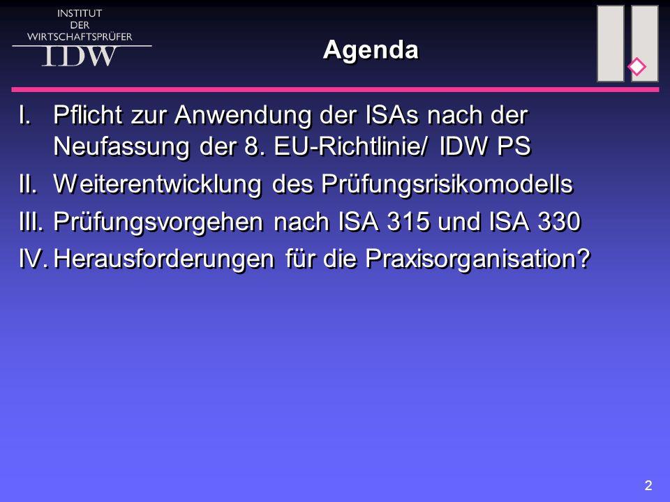 2 Agenda I.Pflicht zur Anwendung der ISAs nach der Neufassung der 8. EU-Richtlinie/ IDW PS II.Weiterentwicklung des Prüfungsrisikomodells III.Prüfungs