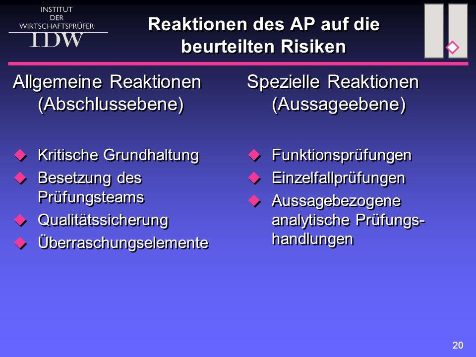 20 Reaktionen des AP auf die beurteilten Risiken Allgemeine Reaktionen (Abschlussebene)  Kritische Grundhaltung  Besetzung des Prüfungsteams  Quali