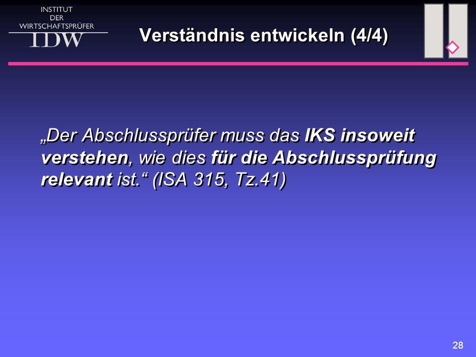 """28 Verständnis entwickeln (4/4) """"Der Abschlussprüfer muss das IKS insoweit verstehen, wie dies für die Abschlussprüfung relevant ist."""" (ISA 315, Tz.41"""