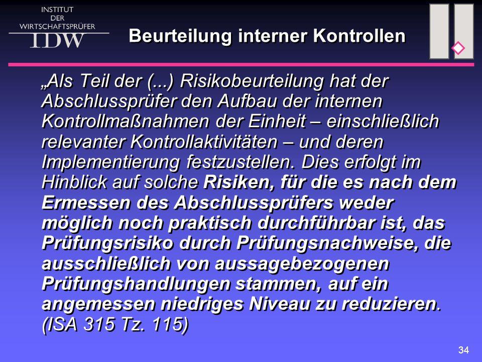 """34 Beurteilung interner Kontrollen """"Als Teil der (...) Risikobeurteilung hat der Abschlussprüfer den Aufbau der internen Kontrollmaßnahmen der Einheit"""