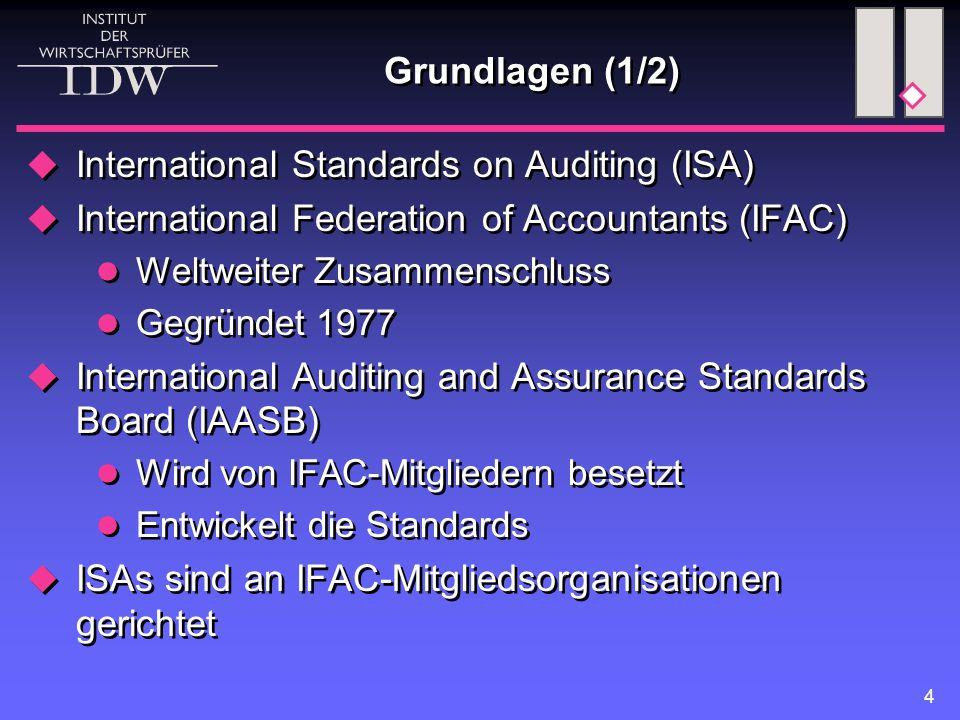 4 Grundlagen (1/2)  International Standards on Auditing (ISA)  International Federation of Accountants (IFAC) Weltweiter Zusammenschluss Gegründet 1977  International Auditing and Assurance Standards Board (IAASB) Wird von IFAC-Mitgliedern besetzt Entwickelt die Standards  ISAs sind an IFAC-Mitgliedsorganisationen gerichtet  International Standards on Auditing (ISA)  International Federation of Accountants (IFAC) Weltweiter Zusammenschluss Gegründet 1977  International Auditing and Assurance Standards Board (IAASB) Wird von IFAC-Mitgliedern besetzt Entwickelt die Standards  ISAs sind an IFAC-Mitgliedsorganisationen gerichtet