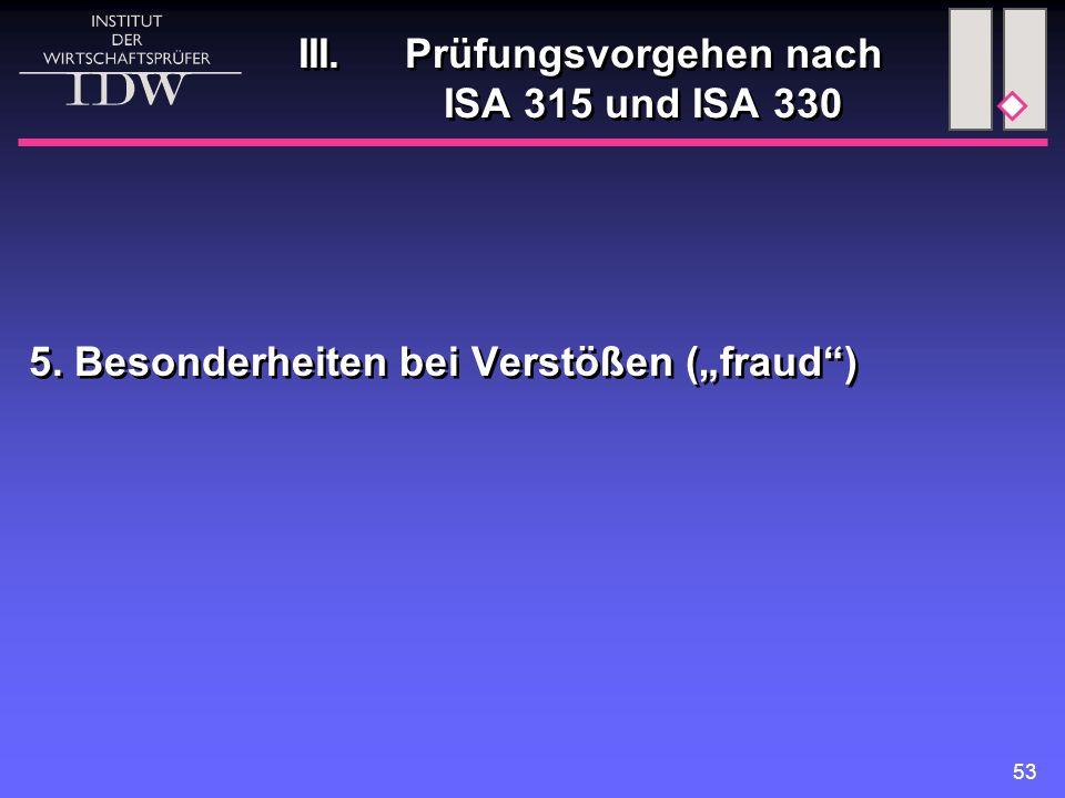 """53 III. Prüfungsvorgehen nach ISA 315 und ISA 330 5. Besonderheiten bei Verstößen (""""fraud"""")"""