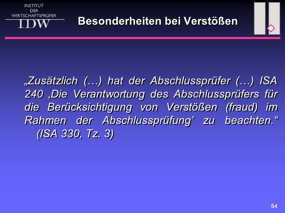 """54 Besonderheiten bei Verstößen """"Zusätzlich (…) hat der Abschlussprüfer (…) ISA 240 'Die Verantwortung des Abschlussprüfers für die Berücksichtigung von Verstößen (fraud) im Rahmen der Abschlussprüfung' zu beachten. (ISA 330, Tz."""