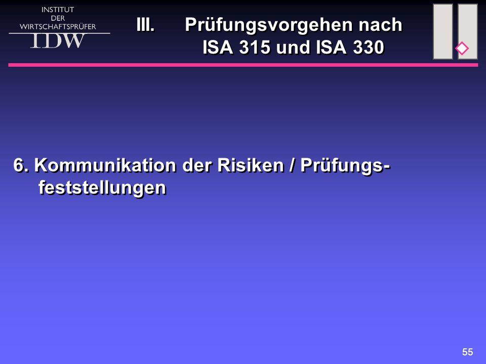 55 III. Prüfungsvorgehen nach ISA 315 und ISA 330 6. Kommunikation der Risiken / Prüfungs- feststellungen