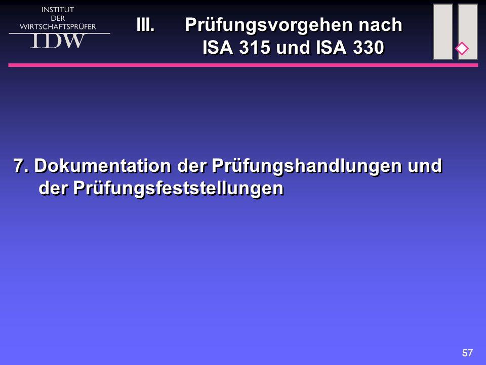 57 III. Prüfungsvorgehen nach ISA 315 und ISA 330 7. Dokumentation der Prüfungshandlungen und der Prüfungsfeststellungen