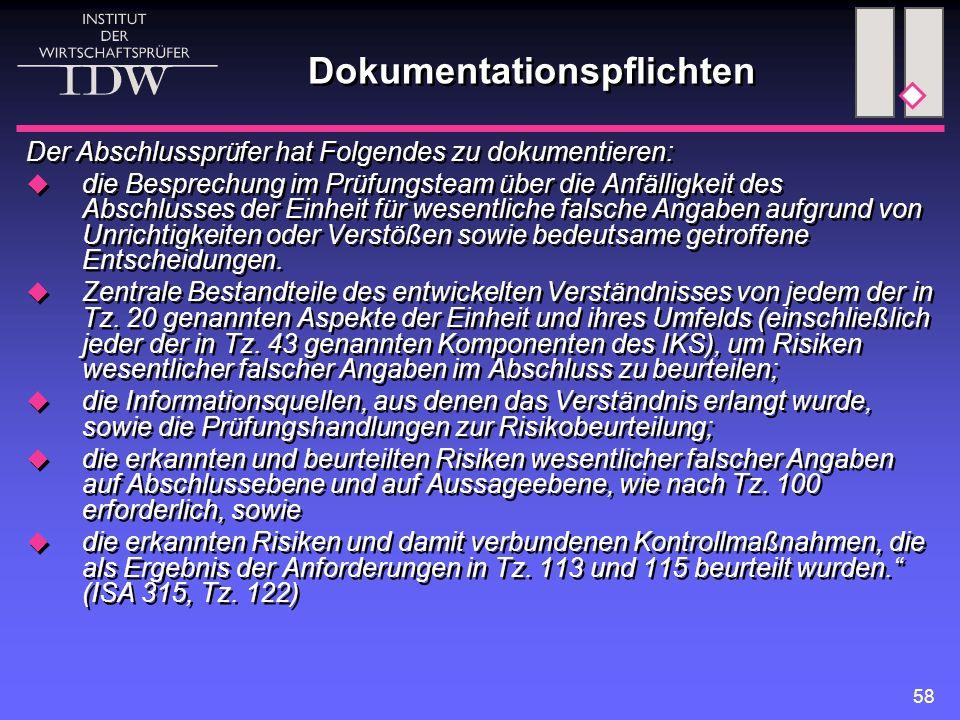 58 Dokumentationspflichten Der Abschlussprüfer hat Folgendes zu dokumentieren:  die Besprechung im Prüfungsteam über die Anfälligkeit des Abschlusses