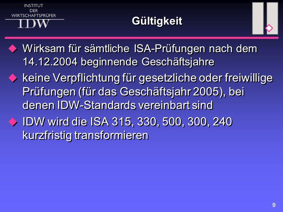 9 Gültigkeit  Wirksam für sämtliche ISA-Prüfungen nach dem 14.12.2004 beginnende Geschäftsjahre  keine Verpflichtung für gesetzliche oder freiwillige Prüfungen (für das Geschäftsjahr 2005), bei denen IDW-Standards vereinbart sind  IDW wird die ISA 315, 330, 500, 300, 240 kurzfristig transformieren  Wirksam für sämtliche ISA-Prüfungen nach dem 14.12.2004 beginnende Geschäftsjahre  keine Verpflichtung für gesetzliche oder freiwillige Prüfungen (für das Geschäftsjahr 2005), bei denen IDW-Standards vereinbart sind  IDW wird die ISA 315, 330, 500, 300, 240 kurzfristig transformieren