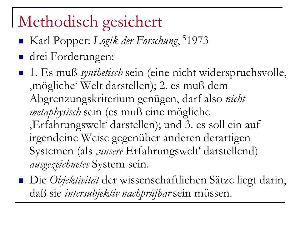 Methodisch gesichert Karl Popper: Logik der Forschung, 5 1973 drei Forderungen: 1.