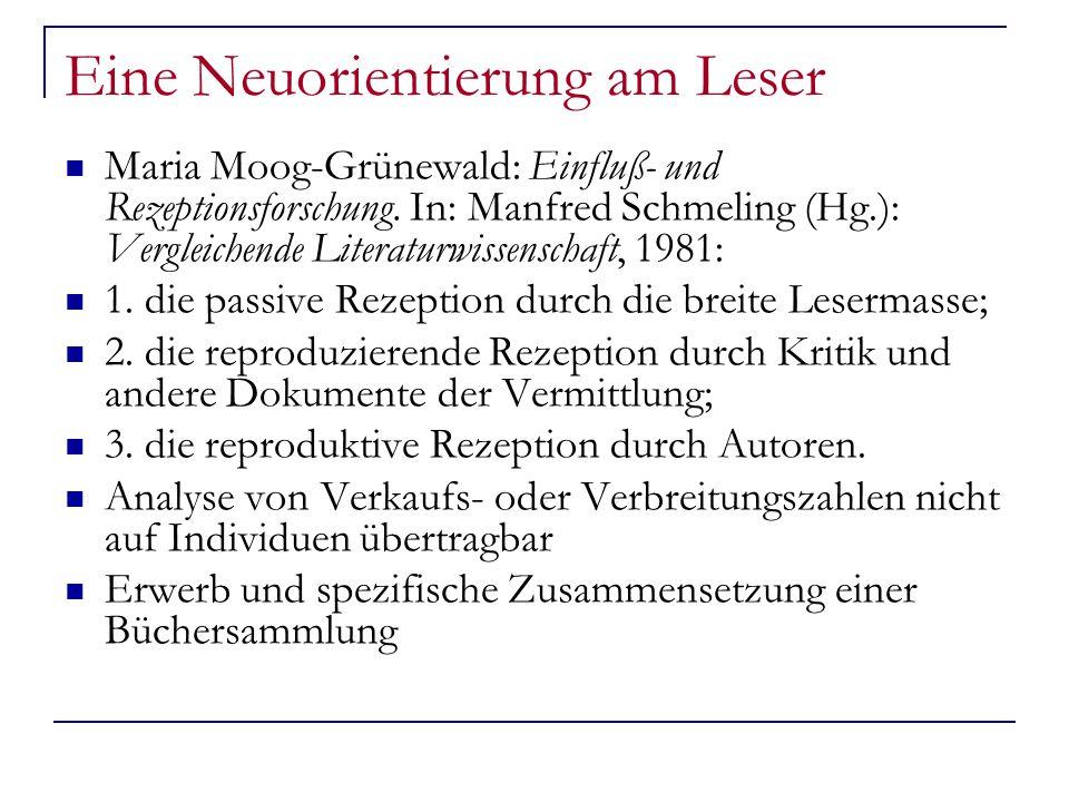 Eine Neuorientierung am Leser Maria Moog-Grünewald: Einfluß- und Rezeptionsforschung.
