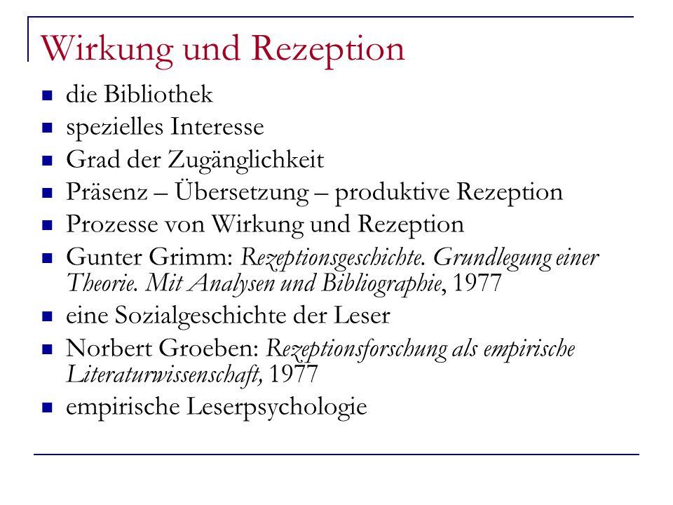 Wirkung und Rezeption die Bibliothek spezielles Interesse Grad der Zugänglichkeit Präsenz – Übersetzung – produktive Rezeption Prozesse von Wirkung und Rezeption Gunter Grimm: Rezeptionsgeschichte.