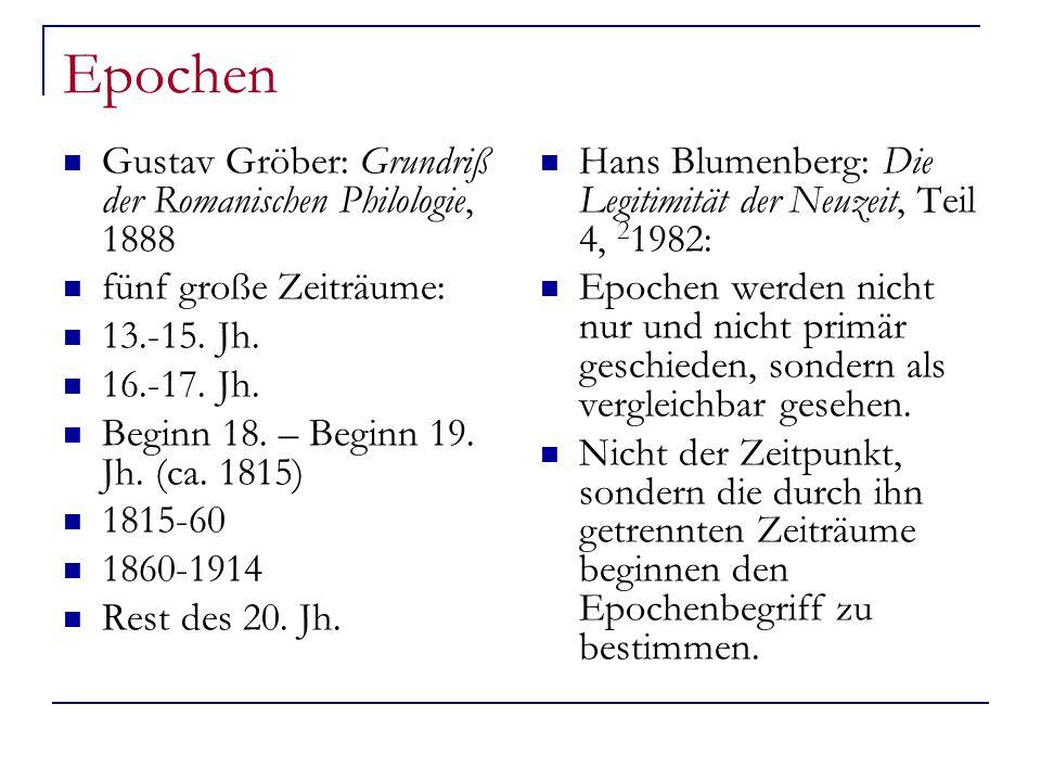 Epochen Gustav Gröber: Grundriß der Romanischen Philologie, 1888 fünf große Zeiträume: 13.-15.