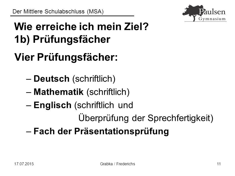 Der Mittlere Schulabschluss (MSA) 17.07.2015Grabka / Frederichs11 Wie erreiche ich mein Ziel? 1b) Prüfungsfächer Vier Prüfungsfächer: –Deutsch (schrif