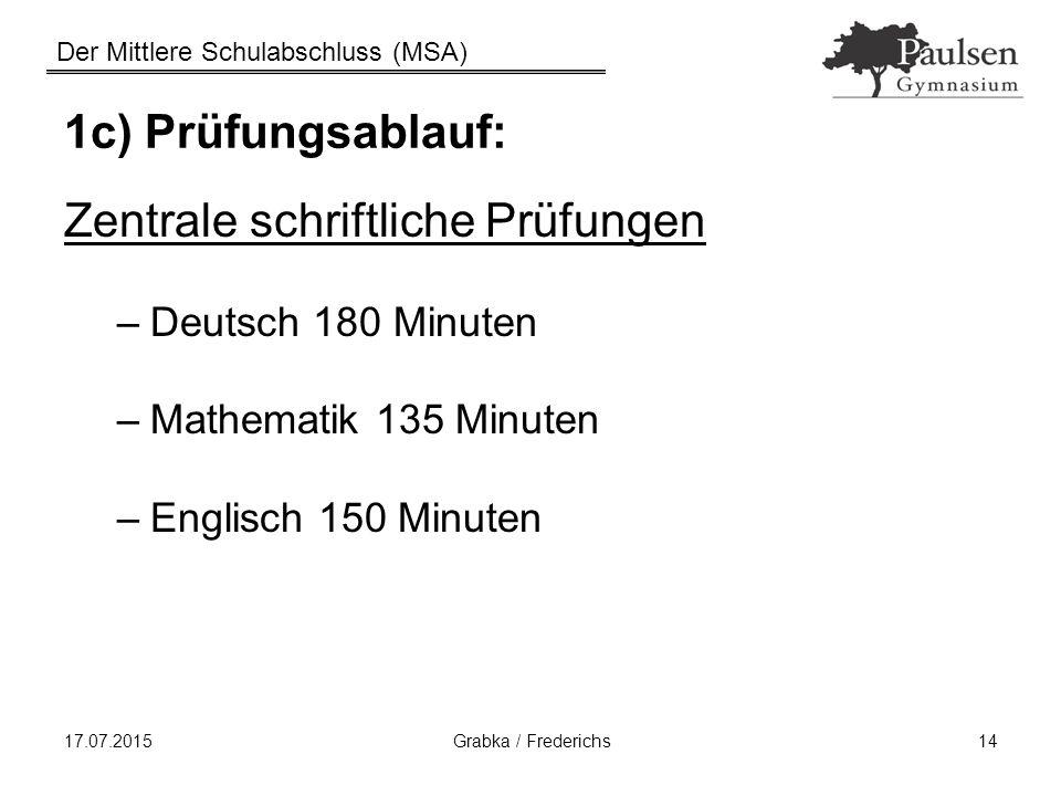 Der Mittlere Schulabschluss (MSA) 17.07.2015 Grabka / Frederichs 14 1c) Prüfungsablauf: Zentrale schriftliche Prüfungen –Deutsch 180 Minuten –Mathemat