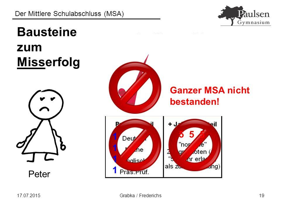 Der Mittlere Schulabschluss (MSA) 17.07.2015Grabka / Frederichs19 Bausteine zum Misserfolg Peter Ganzer MSA nicht bestanden! 5 5 5 11111111