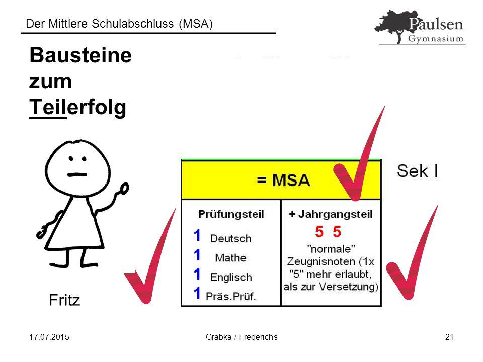 Der Mittlere Schulabschluss (MSA) 17.07.2015Grabka / Frederichs21 Bausteine zum Teilerfolg Fritz 11111111 5