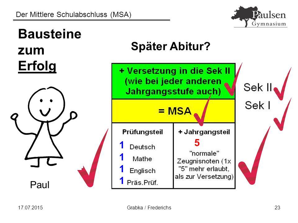 Der Mittlere Schulabschluss (MSA) 17.07.2015Grabka / Frederichs23 Bausteine zum Erfolg Später Abitur? Paul 11111111 5