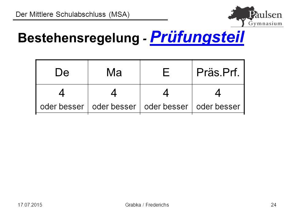 Der Mittlere Schulabschluss (MSA) 17.07.2015Grabka / Frederichs24 Bestehensregelung - Prüfungsteil DeMaEPräs.Prf. 4 oder besser 4 oder besser 4 oder b