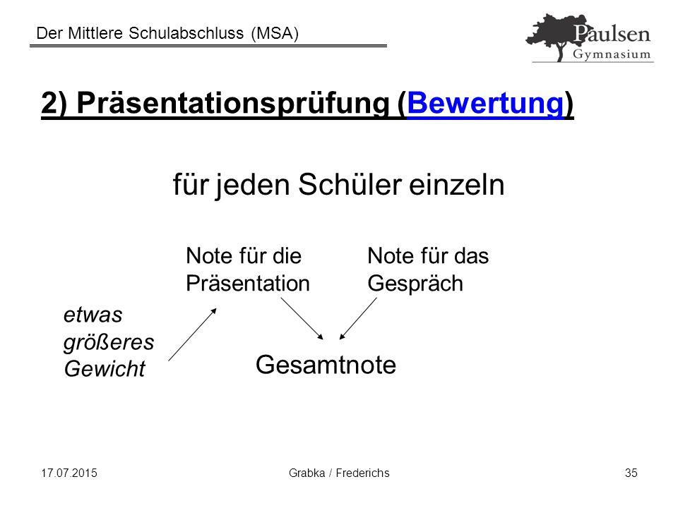 Der Mittlere Schulabschluss (MSA) 17.07.2015Grabka / Frederichs35 2) Präsentationsprüfung (Bewertung) für jeden Schüler einzeln Note für die Präsentat