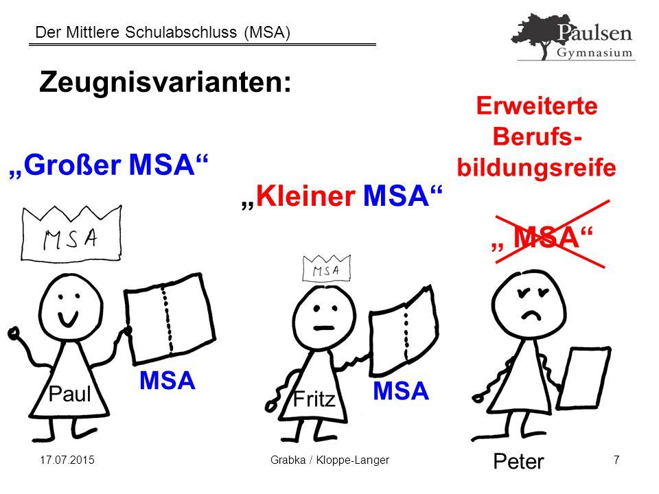 """Der Mittlere Schulabschluss (MSA) 17.07.2015Grabka / Kloppe-Langer18 1d) Bestehensregelung Der Mittlere Schulabschluss ist bestanden, wenn UND der Prüfungsteil bestanden ist der Jahrgangsteil bestanden ist Missverständnis: """"Prüfungen bestanden = MSA bestanden"""