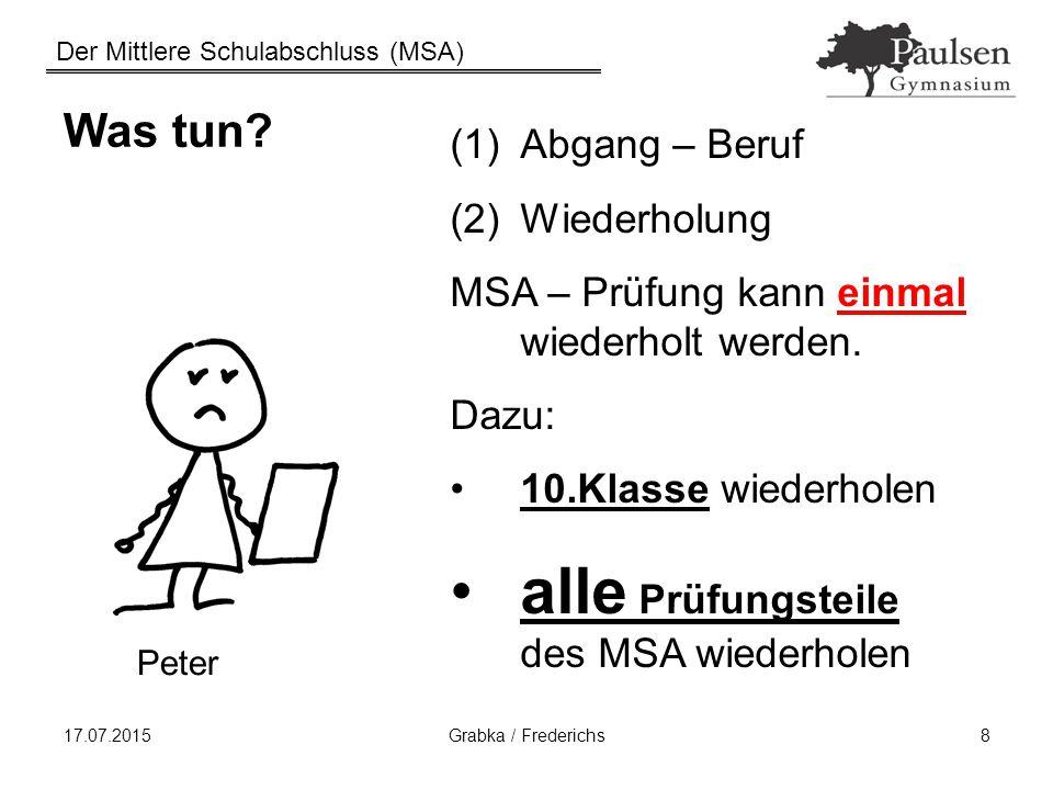 Der Mittlere Schulabschluss (MSA) 17.07.2015Grabka / Frederichs8 Was tun? (1)Abgang – Beruf (2)Wiederholung MSA – Prüfung kann einmal wiederholt werde