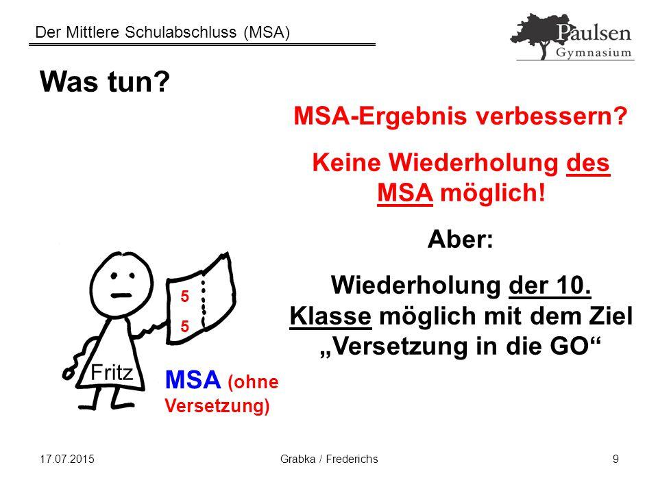 Der Mittlere Schulabschluss (MSA) 17.07.2015Grabka / Frederichs9 Was tun? MSA (ohne Versetzung) MSA-Ergebnis verbessern? Keine Wiederholung des MSA mö