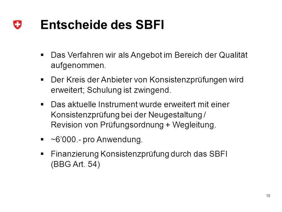 Entscheide des SBFI  Das Verfahren wir als Angebot im Bereich der Qualität aufgenommen.  Der Kreis der Anbieter von Konsistenzprüfungen wird erweite