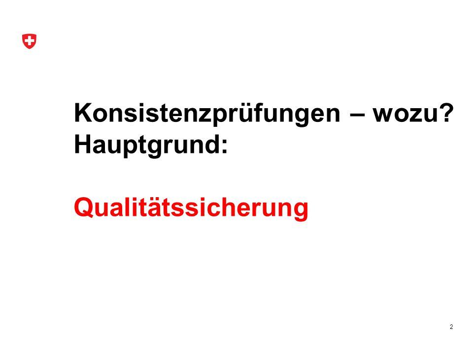 Konsistenzprüfungen – wozu? Hauptgrund: Qualitätssicherung 2