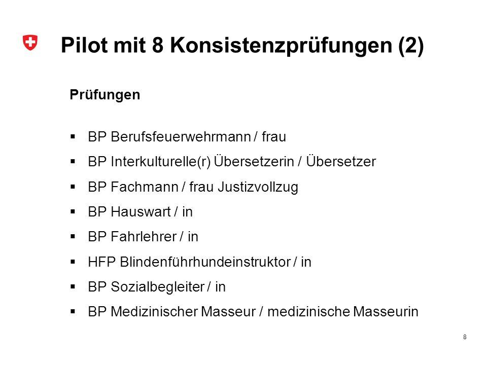 Pilot mit 8 Konsistenzprüfungen (2) Prüfungen  BP Berufsfeuerwehrmann / frau  BP Interkulturelle(r) Übersetzerin / Übersetzer  BP Fachmann / frau J