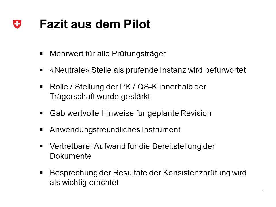 Fazit aus dem Pilot  Mehrwert für alle Prüfungsträger  «Neutrale» Stelle als prüfende Instanz wird befürwortet  Rolle / Stellung der PK / QS-K inne