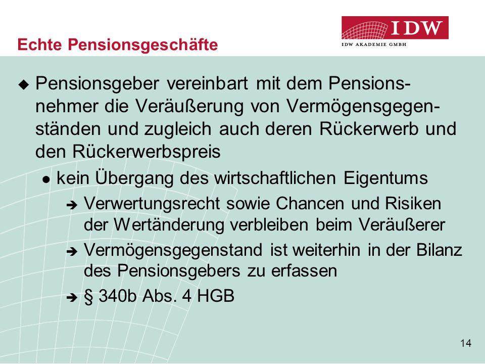 14 Echte Pensionsgeschäfte  Pensionsgeber vereinbart mit dem Pensions- nehmer die Veräußerung von Vermögensgegen- ständen und zugleich auch deren Rüc