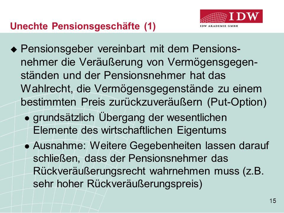 15 Unechte Pensionsgeschäfte (1)  Pensionsgeber vereinbart mit dem Pensions- nehmer die Veräußerung von Vermögensgegen- ständen und der Pensionsnehme