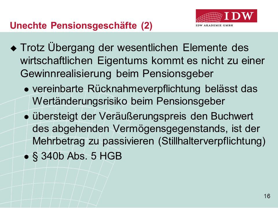 16 Unechte Pensionsgeschäfte (2)  Trotz Übergang der wesentlichen Elemente des wirtschaftlichen Eigentums kommt es nicht zu einer Gewinnrealisierung