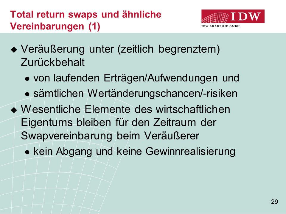 29 Total return swaps und ähnliche Vereinbarungen (1)  Veräußerung unter (zeitlich begrenztem) Zurückbehalt von laufenden Erträgen/Aufwendungen und s