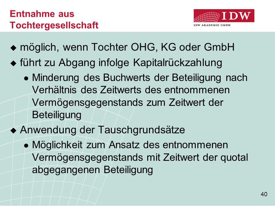 40 Entnahme aus Tochtergesellschaft  möglich, wenn Tochter OHG, KG oder GmbH  führt zu Abgang infolge Kapitalrückzahlung Minderung des Buchwerts der