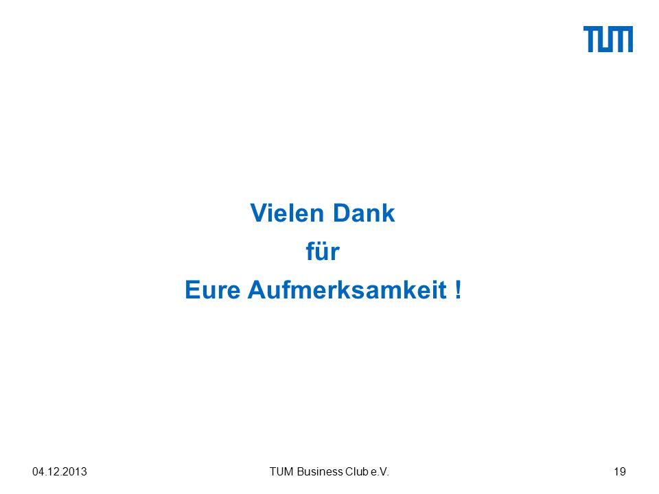 Vielen Dank für Eure Aufmerksamkeit ! 04.12.2013TUM Business Club e.V.19