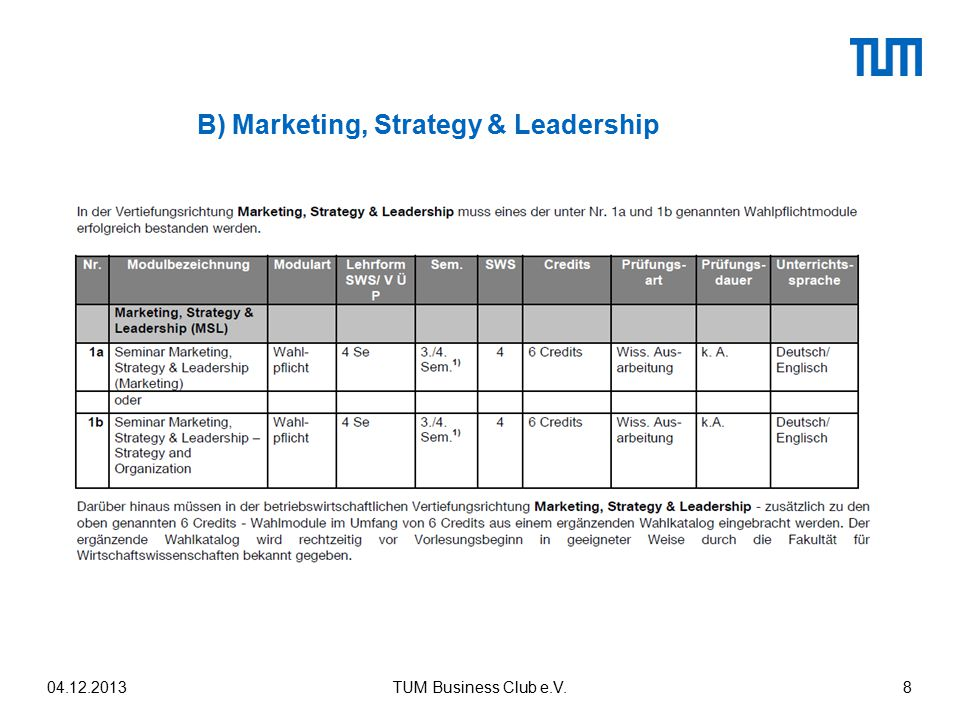 B) Marketing, Strategy & Leadership 04.12.2013TUM Business Club e.V.8