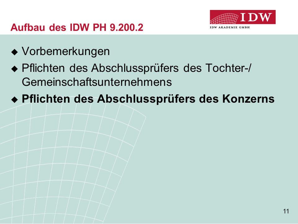 11 Aufbau des IDW PH 9.200.2  Vorbemerkungen  Pflichten des Abschlussprüfers des Tochter-/ Gemeinschaftsunternehmens  Pflichten des Abschlussprüfers des Konzerns