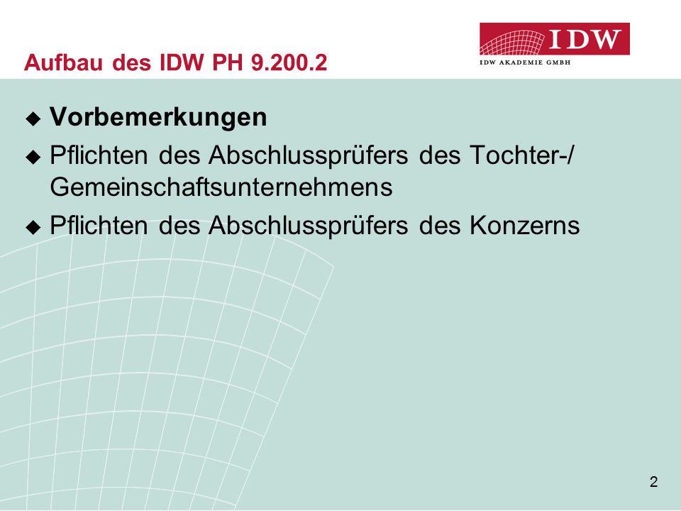 2 Aufbau des IDW PH 9.200.2  Vorbemerkungen  Pflichten des Abschlussprüfers des Tochter-/ Gemeinschaftsunternehmens  Pflichten des Abschlussprüfers des Konzerns