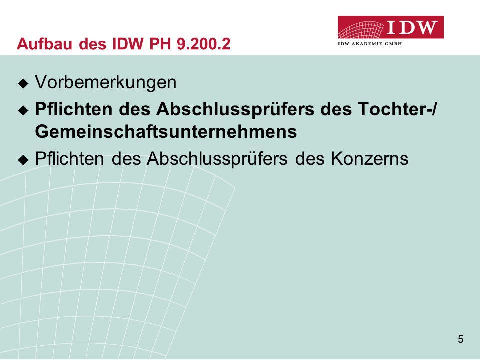 5 Aufbau des IDW PH 9.200.2  Vorbemerkungen  Pflichten des Abschlussprüfers des Tochter-/ Gemeinschaftsunternehmens  Pflichten des Abschlussprüfers des Konzerns