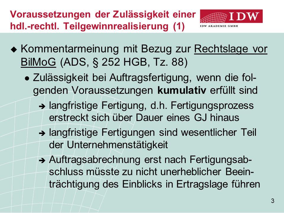 3 Voraussetzungen der Zulässigkeit einer hdl.-rechtl. Teilgewinnrealisierung (1)  Kommentarmeinung mit Bezug zur Rechtslage vor BilMoG (ADS, § 252 HG
