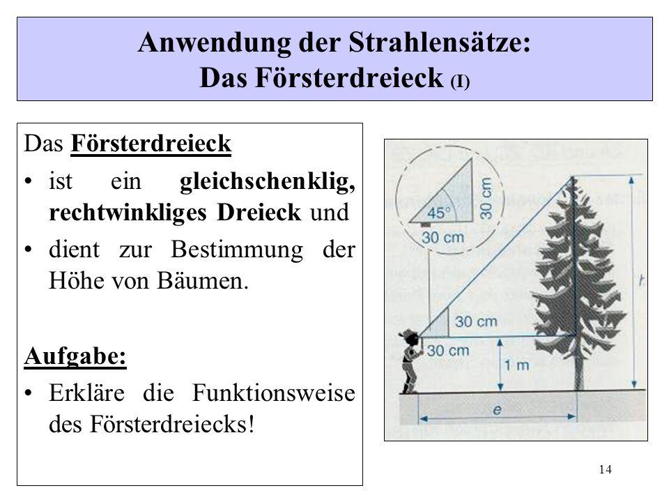 14 Anwendung der Strahlensätze: Das Försterdreieck (I) Das Försterdreieck ist ein gleichschenklig, rechtwinkliges Dreieck und dient zur Bestimmung der Höhe von Bäumen.